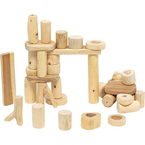 Constructive Playthings Tree Blocks, Set of 36 Hand-Cut Wood Pieces, Various Shapes and Shades, STEM Approved ()