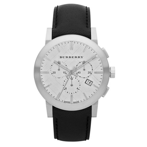 SALE! Authentic Swiss Burberry LUXURY Chronograph Watch Men Unisex The City Black Leather Silver Date Dial - Burberry Black Leather