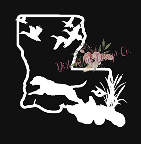 CELYCASY Louisiana Vinyl Decal,Lab Hunting, Original Design, Duck Hunting, Wildlife, Any State Available ()