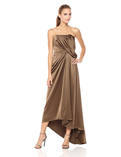 en's Strapless Draped Satin Gown, Sable, 4 (Draped Satin Dress)