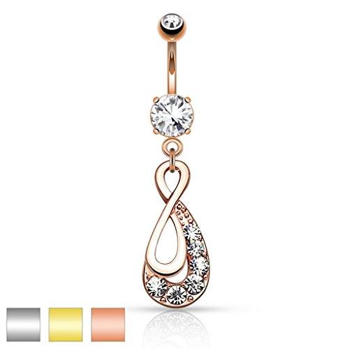 Piercing nombril Infinity Drop avec pavé gemmes - en acier chirurgical 316L - Couleur: Or/Clair
