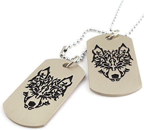 2PCS Khaki Militarys Dog Tags Black Wolf Head Printed Pendants Long Silver Beads Chain Sweater Necklace