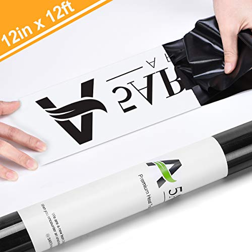 Heat Transfer Vinyl 12inch x12feet HTV Rolls - Iron on HTV Vinyl for Cricut and Silhouette Cameo Easy to Cut & EasyWeed, Make Your own Custom T-Shirt Black