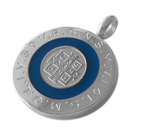 Catholic Saint Benedict Medal Round 28 mm with white blue or black color Enamel - Medalla San Benito St Benedict Medal 1.1 Inches Diam (Blue) - Large Round Medal