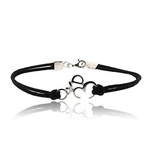 SOVATS Om 925 Sterling Silver Rhodium Plated Charms With Black Cord Bracelet For Men - Simple, Stylish &Trendy Nickel Free Bracelet, Size 7.5