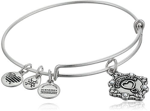 Alex and Ani Womens Because I Love You, Godmother Charm Bangle Bracelet, Rafaelian Silver, Expandable (Godmother Gift)