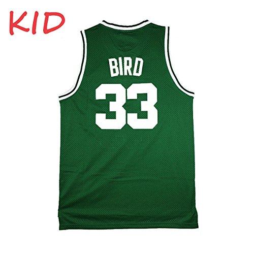 Nmfdz Kids Bird Jerseys Youth Basketball Athletics 33 Boys Larry Jersey Green Size XL(17-19 Years Old)