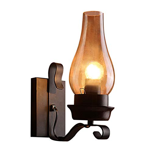 One Light Urn - BAYCHEER HL410762 Industrial Vintage 12'' H 1-Light Frosted Glass Wall sconces Wall Light Lamp with Urn Shade use 1 E26 Bulb in Black