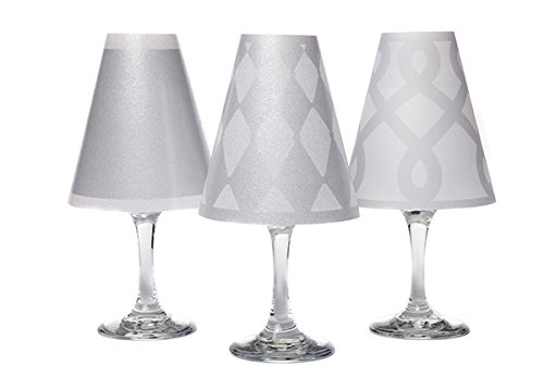 di Potter WS138 Vienna Paper White Wine Glass Shade, Silver (Pack of 6)
