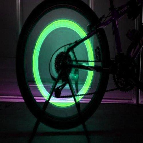 2014 Susenstore 2pcs Bike Bicycle Car Wheel Tyre Tire Valve Cap LED Neon Flash Lamp Light (Green)