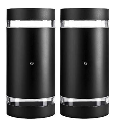 Hyperikon LED Porch Sconce Light, 12W Cylinder, Modern Outdoor Wall Lamp, 4000K Daylight, Black, Photocell, 2 Pack