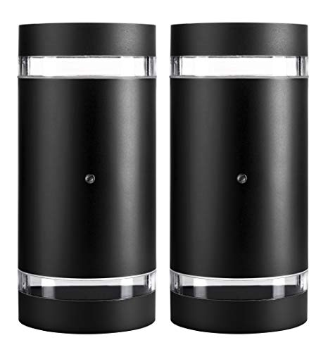 (Hyperikon LED Porch Sconce Light, 12W Cylinder, Modern Outdoor Wall Lamp, 4000K Daylight, Black, Photocell, 2 Pack)