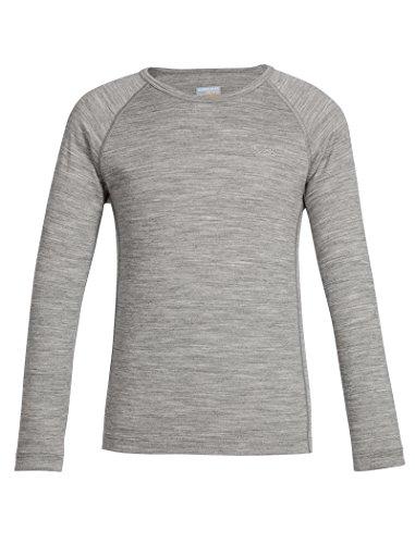 Womens Wool 2 Crew Shirt - Icebreaker Merino Kids' Oasis Long Sleeve Crewe, 2, Gritstone Heather