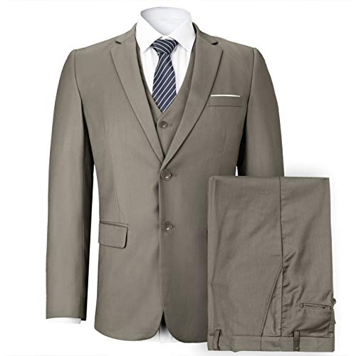 (WEEN CHARM Mens Suits 2 Button Slim Fit 3 Pieces Suit (X-Large, Olive Green) )