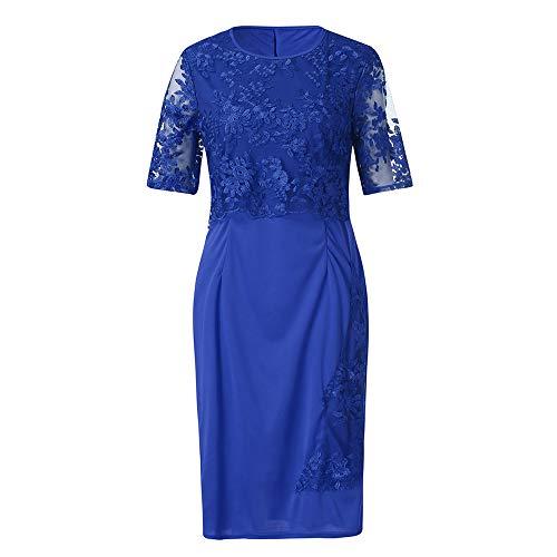 Plus Size Dress for Women Lace Short SleeveLadies Cocktail Evening Party Midi Dress Blue ()