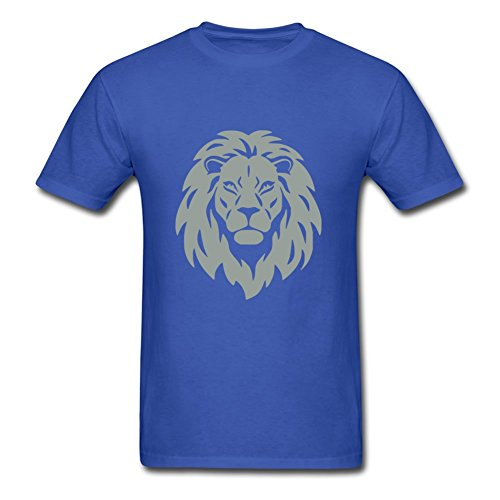 Blue Lion Head 0.1_ Round-collar Design Small 100% Cotton Men Top-shirt