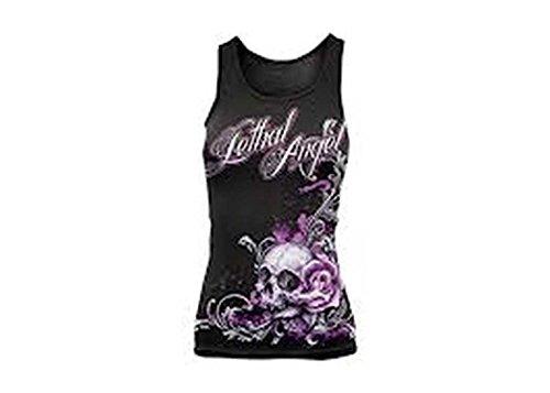 Black Angel Skull Design - Lethal Threat Designs Women's Lethal Angel Floral Skull Tank Top - Small/Black