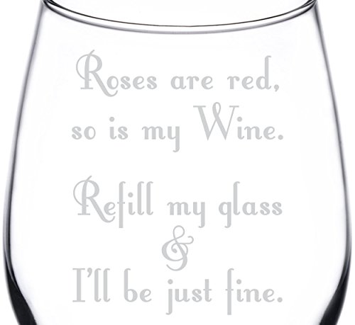 (Rose Are Red Poem) Poetic & Funny Drunken Wine Quote Inspired - Laser Engraved 12.75oz Libbey All-Purpose Wine Taster -