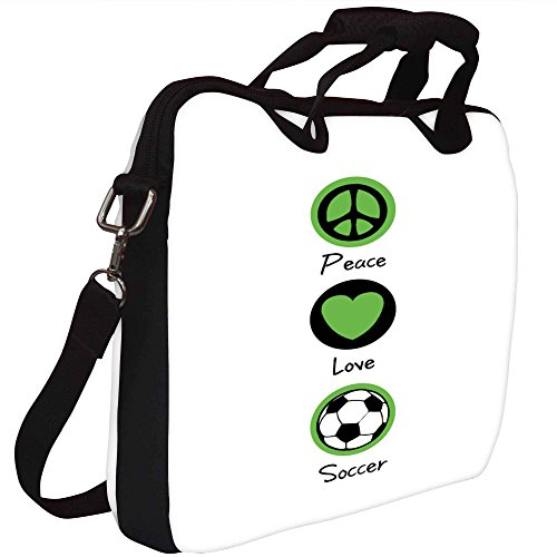 Snoogg Peace Love Soccer Gedruckt Notebook-Tasche mit Schultergurt 15 bis 15,6 Zoll