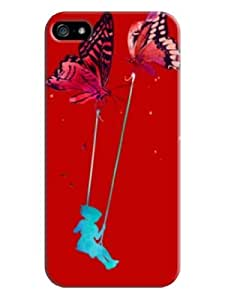 Sangu Butterfly Swing Hard Back Shell Case / Cover for Iphone 5 and 5s - Red