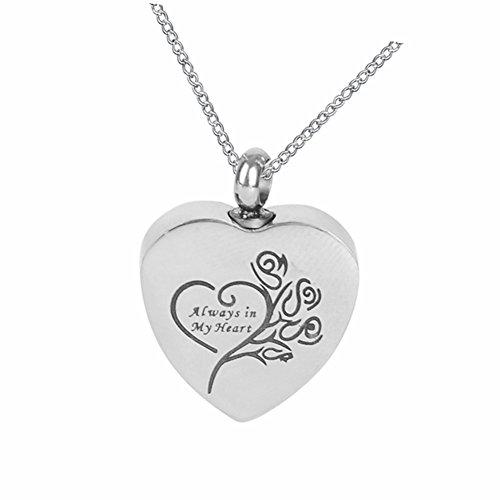 """Stainless Steel Memorial Pendant """"Always in my heart"""" Urn..."""