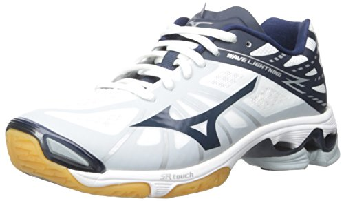 Mizuno Women's Wave Lightning Z WOMS WH-NY Volleyball Shoe, White/Navy, 13 B(M) US by Mizuno