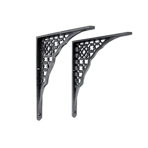 Renovator's Supply Black Aluminum Ornate Wall Shelf Bracket 8 3/4 Inches X 7 Inches Sturdy Traditional Victorian Design Sold As A PAIR