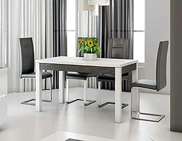Kasalinea Table à Manger Blanc laqué et Ardoise Design Julia: Amazon ...