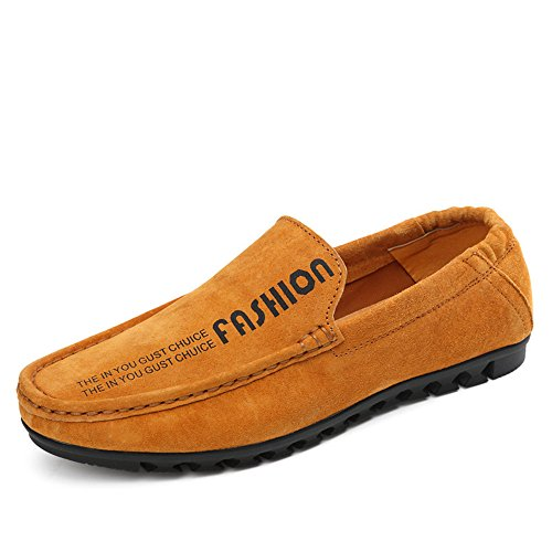 de Mocassins Casual 44 Slip Boat los Loafers Xiazhi Conducción EU Hombres shoes elástico detrás Marrón Color Suela on tamaño Penny Suave Piso con qPCw0S