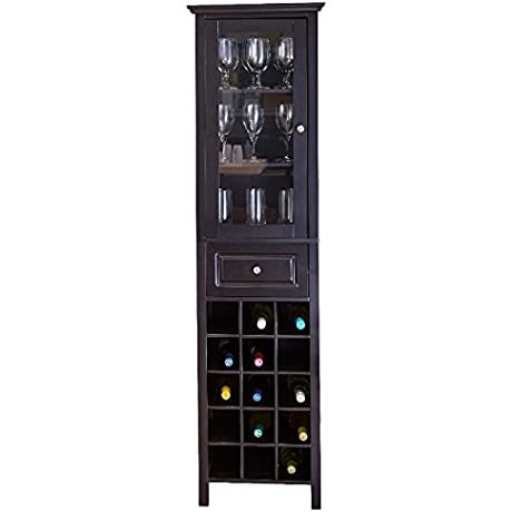 Liquor Storage Cabinet With Glass Door Tall In Black Tower Unit W Drawer Is Best For Your Favorite Bottles Of Wine Liquors Glassware And Drinking Accessories Bundle Includes Wine Bottle Holder