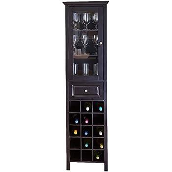 Amazon.com: Liquor Storage Cabinet with Glass Door Tall in Black ...