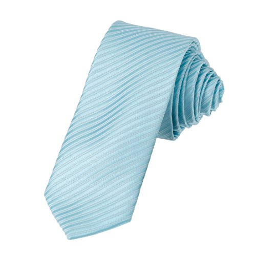 DAE2028 Light sky blue White Collection Skinny Tie Matching Present Box Set Stripes Poly SlimTie ST By Dan Smith, CID-046-08 ,One Size (Sky Blue Stripes Tie)
