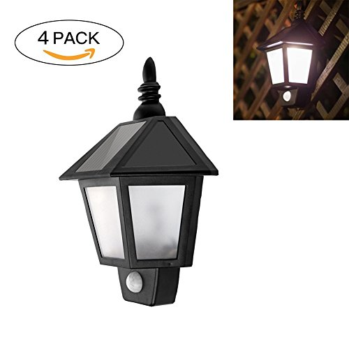 16' Exterior Wall Sconce (Solar Powered Vintage LED Wall Lamp Half Hexagonal Wall-mounted Landscape Light Motion Activated Waterproof Exterior Sconce Lantern Lamp Automatically ON at Night for Garden Patio Path Fence (4 packs))
