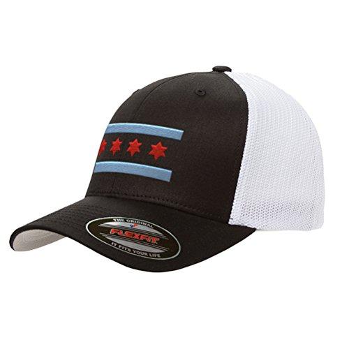 Chicago Flag Mesh Snapback Premium Yupoong Adult Retro Trucker Cap Hat 6606 (Black/White)