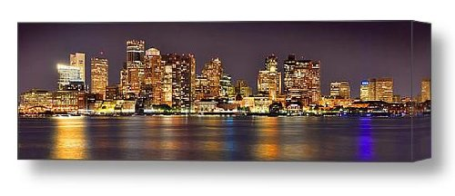Boston Skyline At Night Canvas 16 Inches X 48 Inches Color City Downtown Photographic Panorama Print Photo Picture