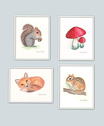 (Woodland art print set. Woodland animal watercolor paintings. Woodland nursery decor. Woodland kids room art. Forest animal decor. Squirrel, mushroom, fox, chipmunk art.)