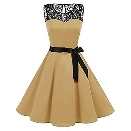 Wintialy Women Sleeveless Solid Lace Hepburn Vintage Swing High-Waist Pleated Dress Khaki