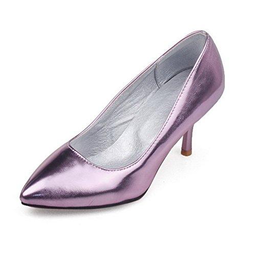 BalaMasa Girls Low-Cut Uppers Mule Pull-On Imitated Leather Pumps-Shoes Purple B0ohE4IAB