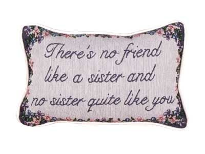 No Friend Like a Sister Tapestry Toss Pillow USA Made SKU: P80-SIS