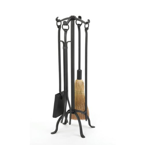 WOODFIELD Woodfield Black Wrought Iron 4-piece Tool Set W/ring Handles (Woodfield Fireplace Tools)
