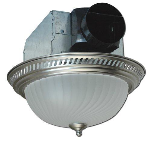 Air King AKLC702 Decorative Quiet Round Bath Fan with Light, Nickel (Renewed) ()