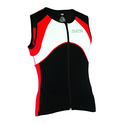 Triathlon SLS3 Men`s FX Tri Top 3 Pockets Full Zipper Jersey - Singlet -Tank (Red, S)