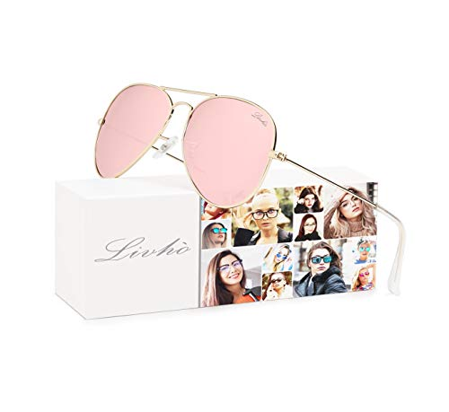 LIVHO Classic Aviator Sunglasses for Women Men Polarized,Metal Frame Mirror UV Lens Protection(Gold Cherry powder, 62) (Women Top Sunglasses)