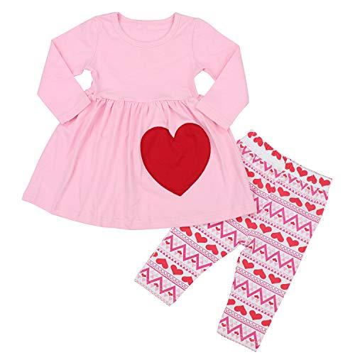 KANGKANG Valentine's Day Outfit Baby Kids Girl Long Sleeve Dress Heart Print Pants Set 2-3T Pink]()