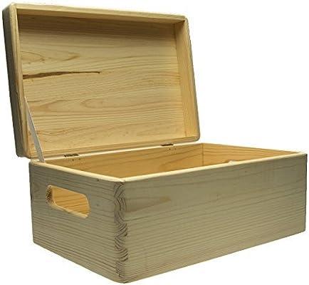 Langlauf Caja De Almacenaje con Asas Hecha de sin Tratar Madera de Pino FSC 100%. Cajón Dimensiones: 30x20x14 cm Decoupage Artesanía: Amazon.es: Hogar