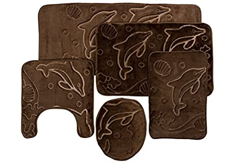 5 Piece Bathroom Rugs Set - Soft Non Slip Memory Foam Large Bath Mats - Perfect Combination of Luxury and Comfort - Brown (Memory Foam Rug Bathroom)