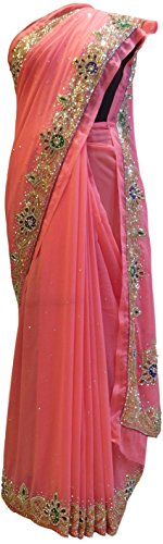 SMSAREE Pink Designer Wedding Partywear Georgette Cutdana Thread Stone Hand Embroidery Work Bridal Saree Sari C802 by SMSAREE
