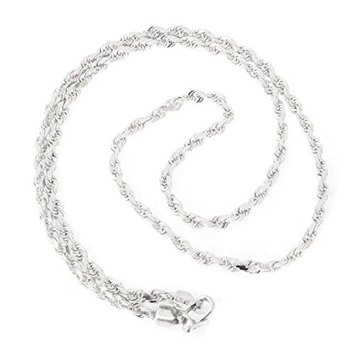 Beauniq 14k White Gold 3.0 Millimeters Solid Diamond-Cut Royal Rope Chain Necklace, 30 Inches ()