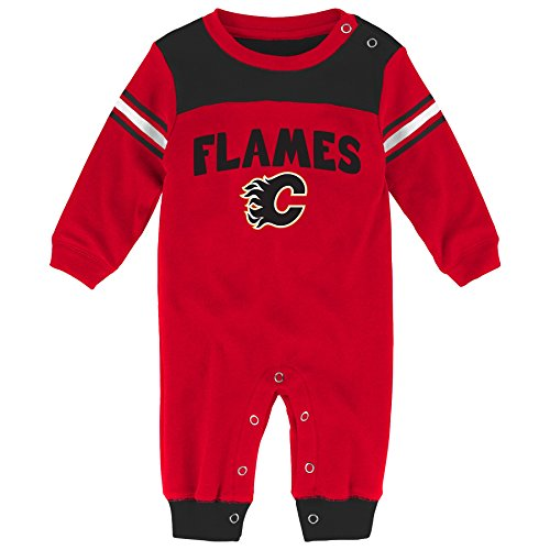 Outerstuff NHL Calgary Flames Children Boys Penalty Box Kid Long sleeve Coverall, 3-6 Months, Red