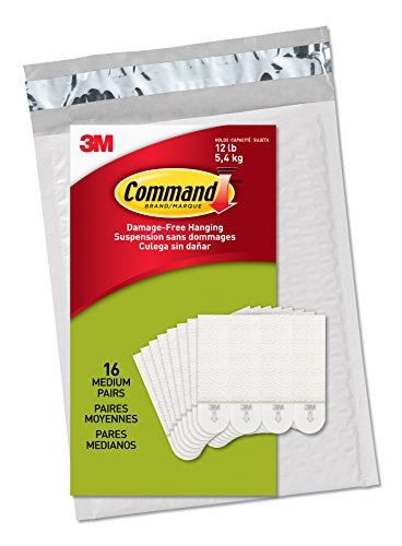 : Command Picture Hanging Strips, Medium, White, 16-Pairs (PH204-16ES) - Easy to Open Packaging